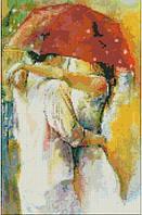 Алмазная живопись Свидание под зонтиком, размер 28*43 см, забивка полная, стразы квадратные