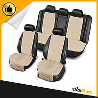 Накидки, авточехлы на сидения автомобиля Алькантара стиль, Бежевые, полный комплект широкие