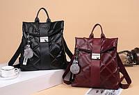 Молодежные модные стильные городские рюкзаки женские Roll-top бордовый и черный