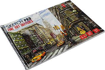 """Альбом для ескізів на пруж. 20арк. A4 """"Fine art sketches"""" №741958/Santi/(5)"""