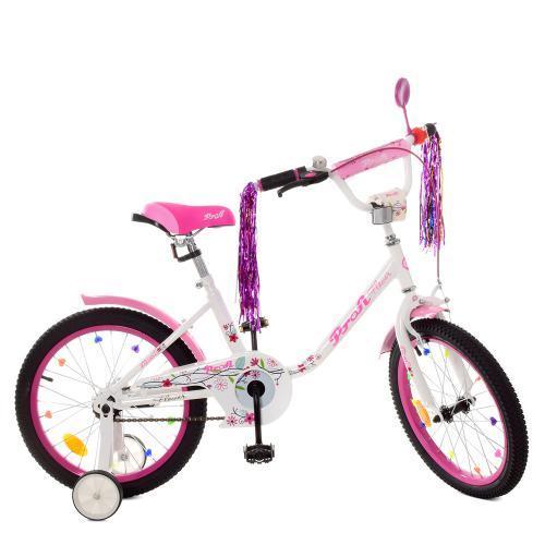 Детский велосипед Profi Flower Y 1885 18 дюймов бело-розовый