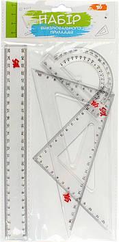 """Набір геометричний """"1В/Yes"""" №370261 (4предм.,лінійка 25см)(24)(288)"""