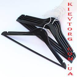 Вешалки плечики акриловые для одежды черные с антискользящей перекладиной, 44 см