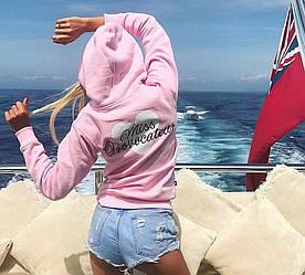 Модный женский свитшот с капюшоном Розовый, Голубой