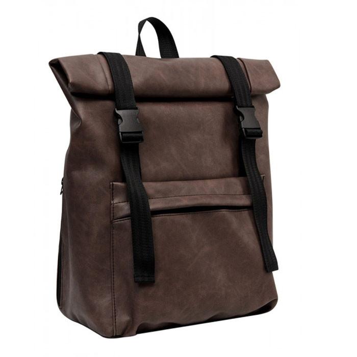 Мужской рюкзак роллтоп коричневый из экокожи (качественный кожзам) городской, офисный, повседневный