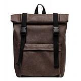 Мужской рюкзак роллтоп коричневый из экокожи (качественный кожзам) городской, офисный, повседневный, фото 2
