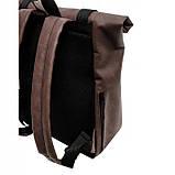 Мужской рюкзак роллтоп коричневый из экокожи (качественный кожзам) городской, офисный, повседневный, фото 4