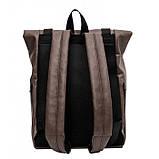 Мужской рюкзак роллтоп коричневый из экокожи (качественный кожзам) городской, офисный, повседневный, фото 3