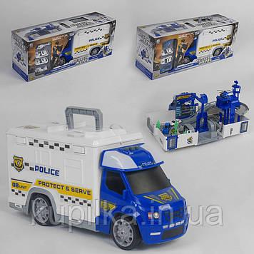 Игровой набор для мальчика Полицейский грузовик-гараж 95577-21 (2 вида), световые и звуковые эффекты