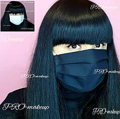 Маска для лица многоразовая защитная из натуральной ткани Lux-Form (черный/белый)