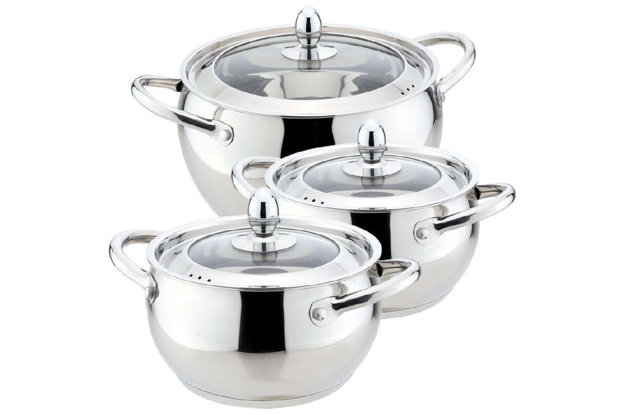 Набор посуды нержавеющий Maestro - 1,5 х 2 х 4 л, (3 шт.) MR-3509-6M