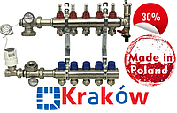Krakow (Польша) 5 контуров. Коллекторная группа в сборе для системы теплого пола