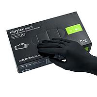 """Перчатки нитриловые черные размер """" С """" Nitylex 50 пар"""