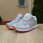 Женские замшевые кроссовки New Balance 574 (серо-розовые) 20038, фото 6