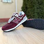 Женские замшевые кроссовки New Balance 574 (бордовые) 2961, фото 4