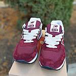 Женские замшевые кроссовки New Balance 574 (бордовые) 2961, фото 7