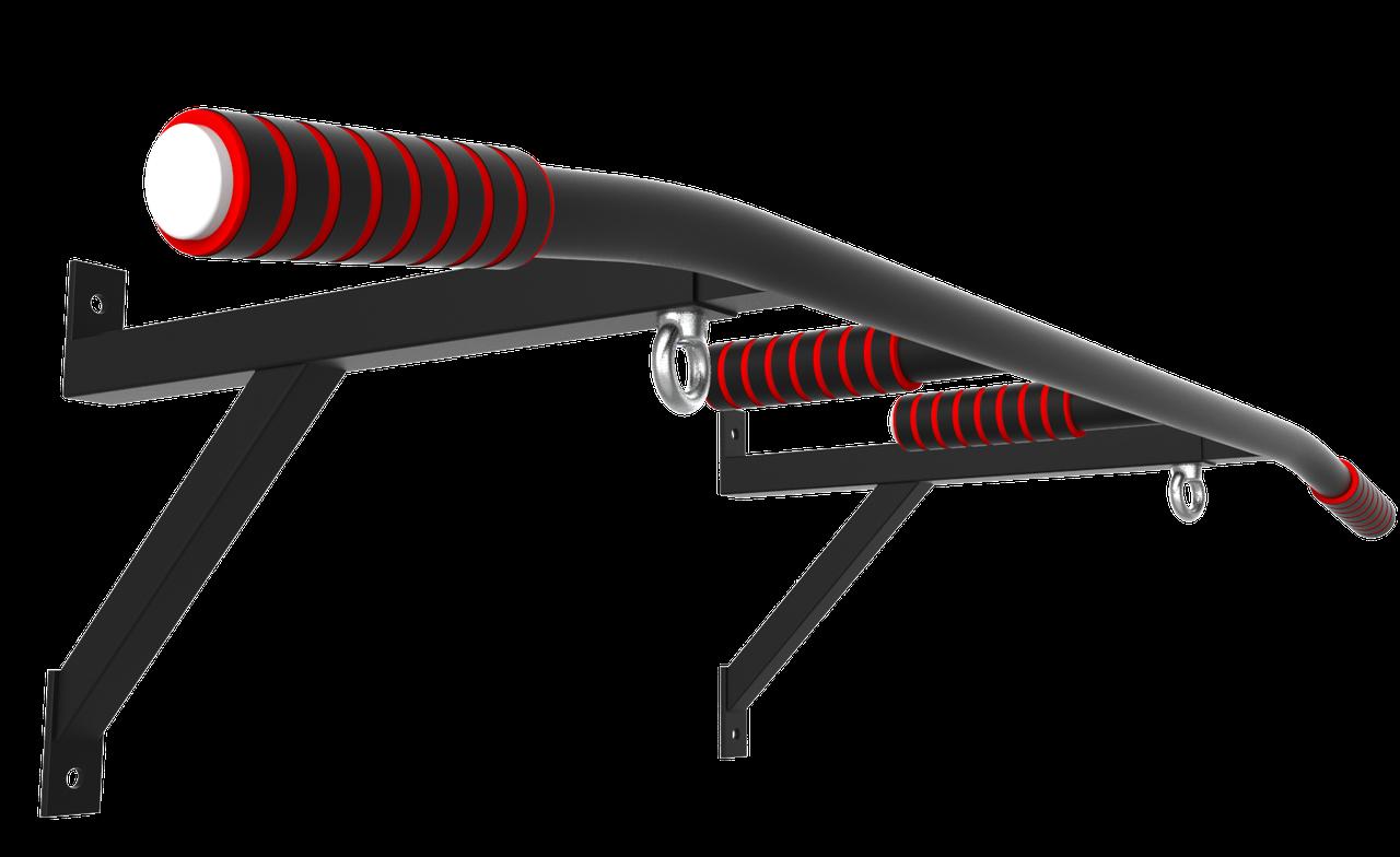 Турник настенный SAB-Building цельносварной  с кольцами для груши 3 в 1 черный,белый