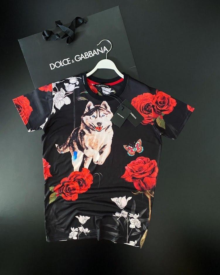😜Мужская фирменная футболка с волком Dolce&Gabana