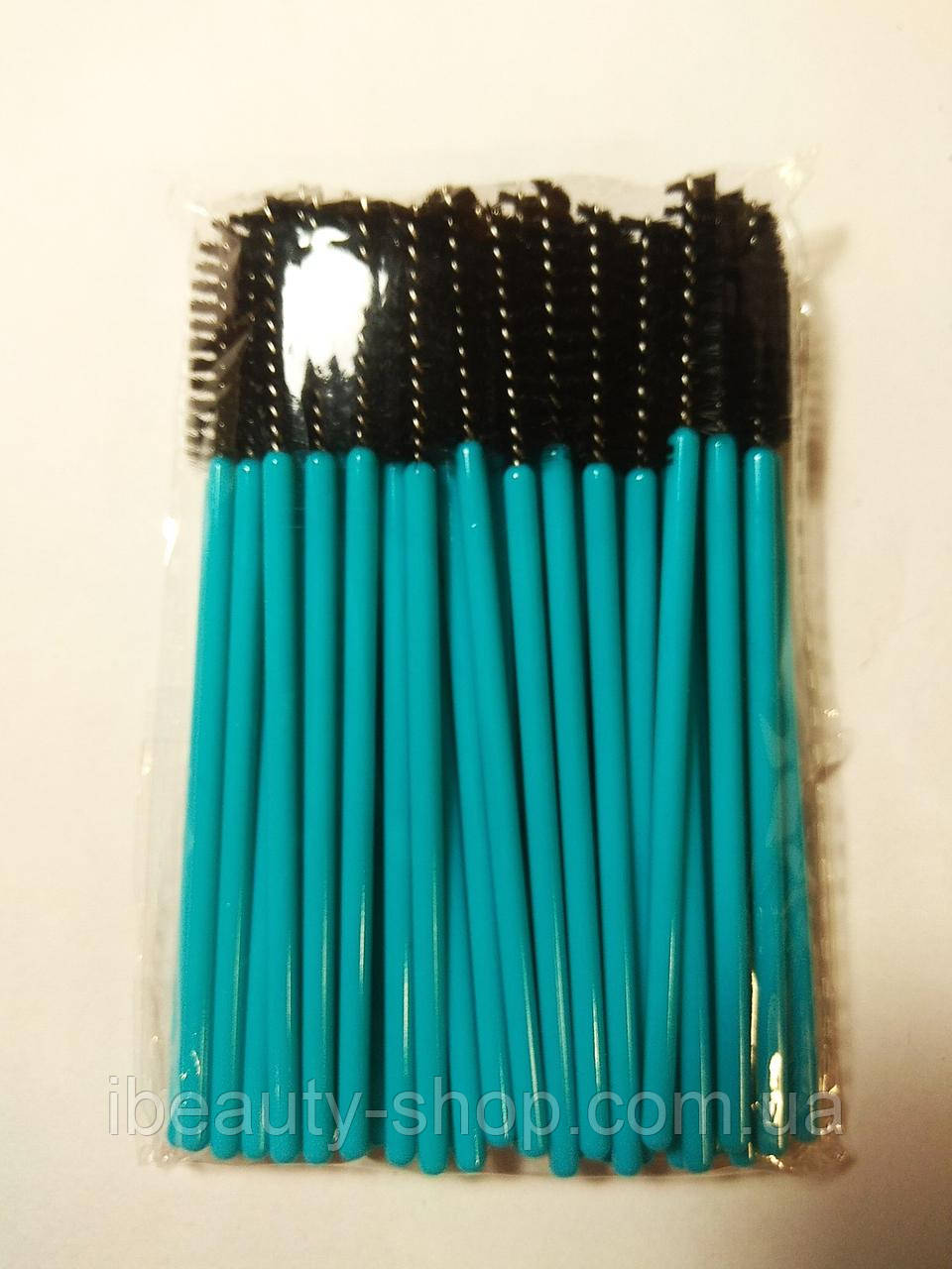 Щетка нейлоновая, бирюзовая+черная, для ресниц и бровей