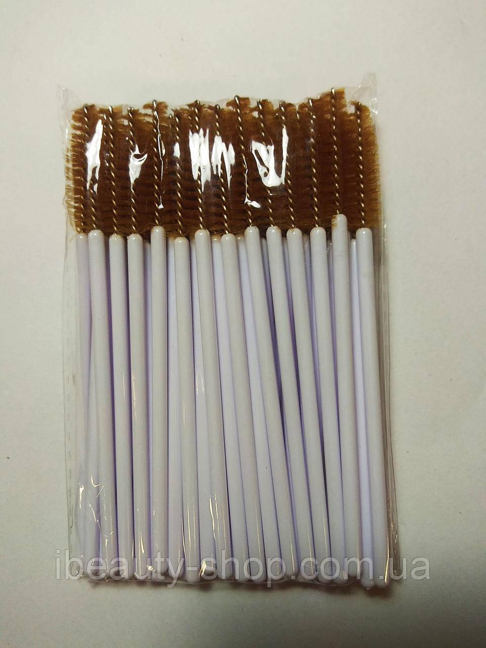 Щетка нейлоновая, белая+коричневая , для ресниц и бровей