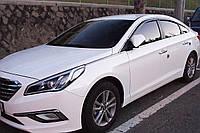 Ветровики с хром полосой, дефлекторы окон Hyundai Sonata LF 2014-2019 (Autoclover/D940/Корея)
