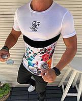 😜Мужская ходовая футболка (белая) с цветами