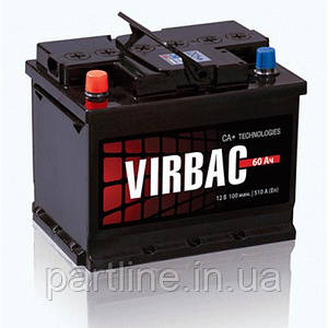 Аккумулятор 6СТ-60 Virbac Classic, пусковой ток 480En, габариты 242х175х190, гарантия 12 мес., эконом класс