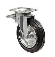 Профессиональное поворотное с тормозом колесо диаметром 200 мм из стандартной резины для контейнеров ТБО