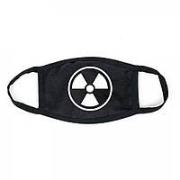 Захисна маска для особи, чорний колір, багаторазова з великим принтом білого кольору знак радіації
