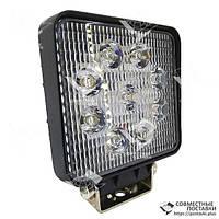 27W / 60 (9X3W / широкий луч, квадратный корпус) 2000 LM LED фара рабочая квадратная 27W 9 ламп, 10-30V, 6000K, фото 1