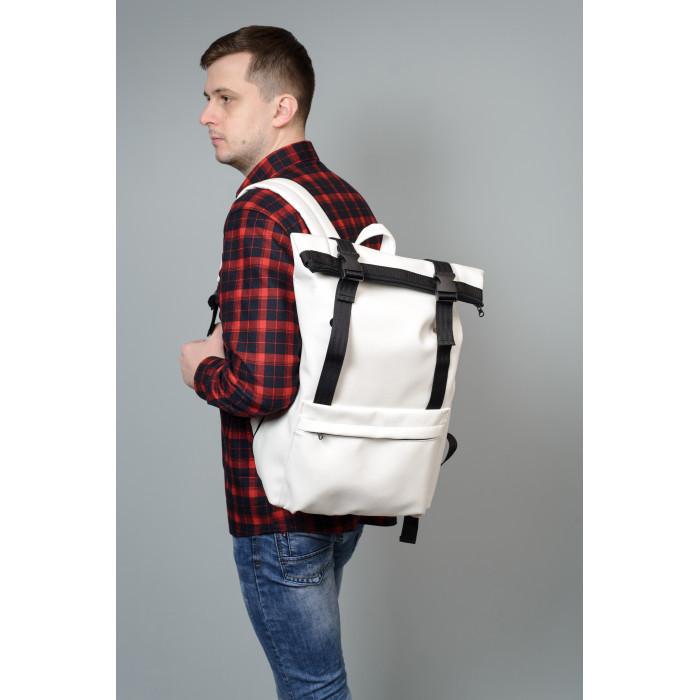 Модный мужской городской белый рюкзак роллтоп из экокожи (качественный кожзам)