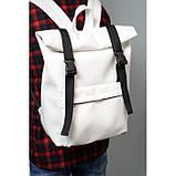 Модный мужской городской белый рюкзак роллтоп из экокожи (качественный кожзам), фото 3