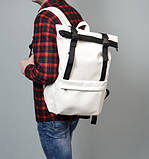 Модный мужской городской белый рюкзак роллтоп из экокожи (качественный кожзам), фото 4