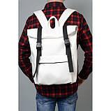 Модный мужской городской белый рюкзак роллтоп из экокожи (качественный кожзам), фото 2