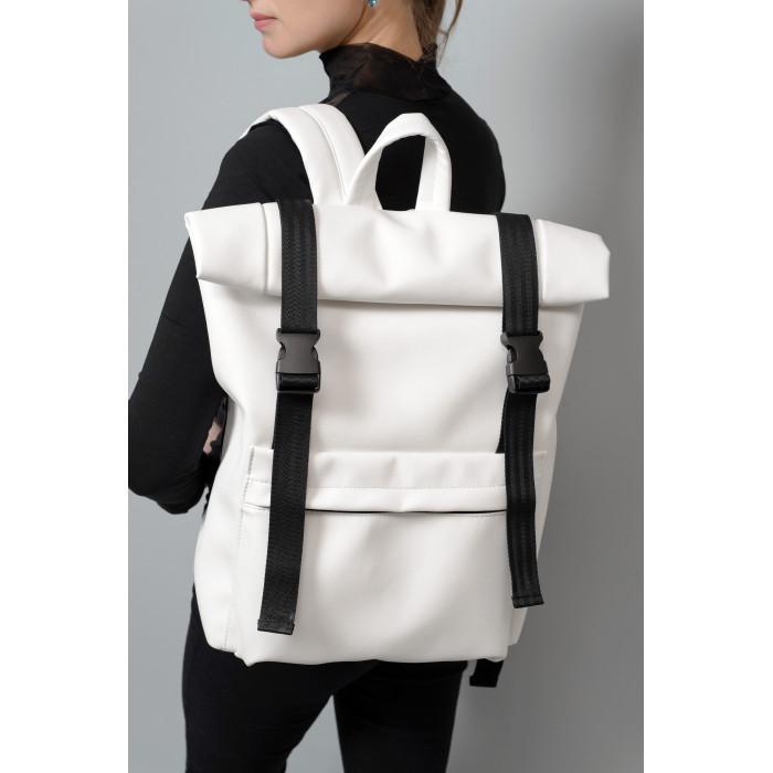 Большой модный женский рюкзак белый роллтоп из экокожи повседневный, городской