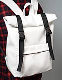 Большой модный женский рюкзак белый роллтоп из экокожи повседневный, городской, фото 3