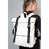Большой модный женский рюкзак белый роллтоп из экокожи повседневный, городской, фото 2