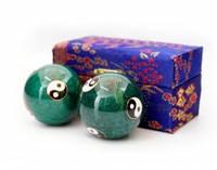 9290017 Массажные шары Баодинга пара Эмаль Инь Ян зелёные
