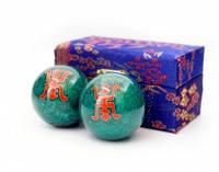 9290017 Массажные шары Баодинга пара Эмаль Двойная удача зелёные