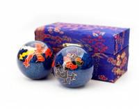 9290017 Массажные шары Баодинга пара Эмаль Дракон Феникс синие