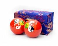 9290017 Массажные шары Баодинга пара Эмаль Тройной Инь Ян красные
