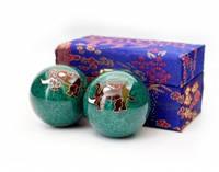9290017 Массажные шары Баодинга пара Эмаль Слоник зелёные