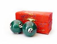 9290016 Массажные шары Баодинга пара Эмаль Инь Ян зелёные