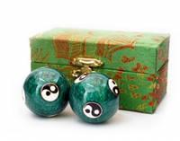 9290015 Массажные шары Баодинга пара Эмаль Инь Ян зелёные
