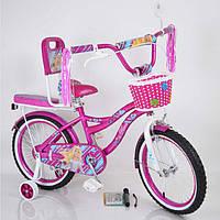 Детский фиолетовый велосипед для девочки Flora 18 дюймов с корзинкой и багажником для куклы от 115 см
