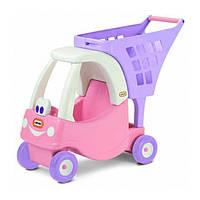 Детская Игровая Каталка-Коляска тележка для игрушек с корзиной с мордочкой, 68х26х57 см, розовая Little Tikes
