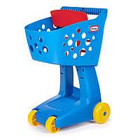 Детская Игрушечная Тележка-Корзина на колесах для игрушек голубая с сидением для куклы Little Tikes Литл Тайкс