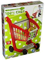 Детская Игровая Тележка с колесиками для супермаркета с набором овощей и фруктов красная 42х42х30 см Ecoiffier