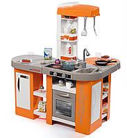 Детская Игровая Интерактивная Кухня оранжевая с плитой со звуком 36 аксессуаров Studio XL Bubble Smoby Смоби