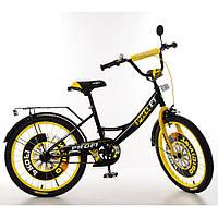 """Велосипед детский 2-х колесный Profi (20"""") от 6-9 лет, подножка, звонок, зеркало, черно-желтый арт. XD2043*"""